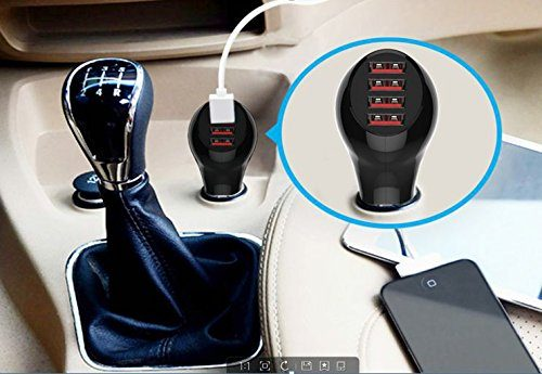 Lightning Car Charger next to Gear Shift